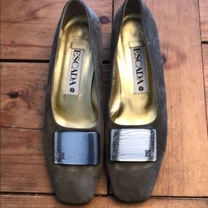 Escada grey green suede shoes size 8B